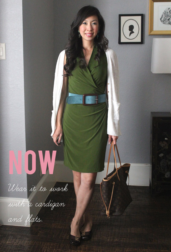 Now and Later // Green Wrap Dress