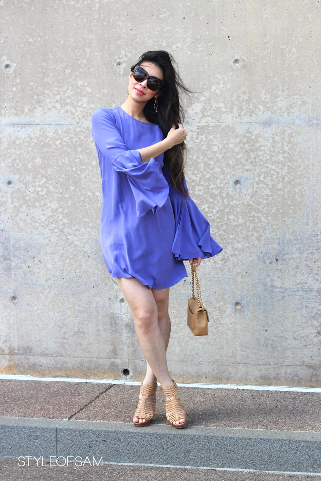 style of sam, elizabeth and james purple mabel dress, house of harlow chelsea tortoise sunglasses, anthropologie floating crystal drops earring, stuart weitzman huarache sandals, chanel caviar mini flap, tom ford lip color shine frolic