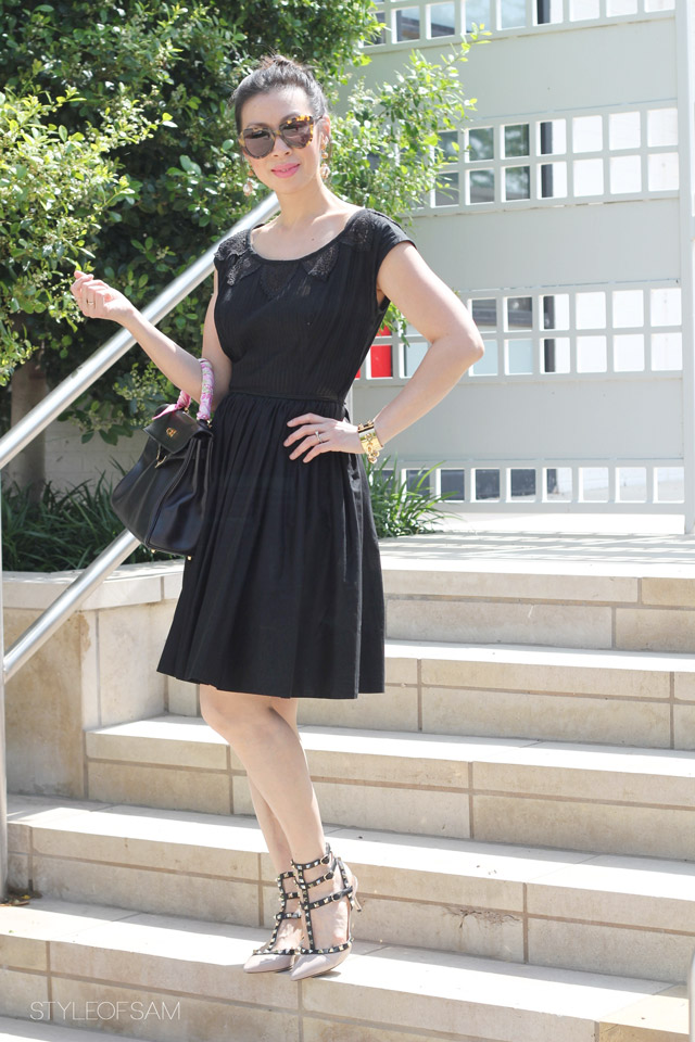 style of sam, little black dress, lbd, from grandma with love, karen walker number one sunglasses, hermes kelly bag, coach twilly, valentino rock stud nude black kitten heels, louis vuitton chain cuff