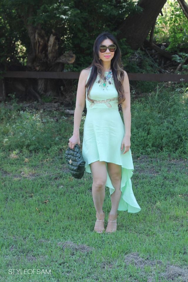 style of sam, lc mint dress, shopseptember, prada baroque sunglasses, stuart weitzman nude gladiator heels, chanel green bubble quilt bag, lulu frost absinthe necklace, tom ford dusty pink lipstick