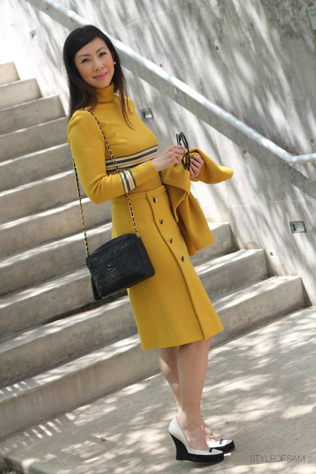 style of sam, vintage mustard dress with grey stripes, prada baroque sunglasses, large pearl stud earrings, tabitha simmons tuxedo wedges, chanel vintage camera bag with tassel