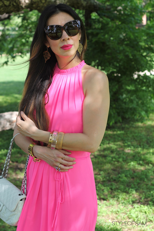 style of sam, ted baker london neon pink geha maxi dress, chanel white flap, coach mayra wedges, house of harlow chelsea sunglasses, louis vuitton gold chain cuff, lucky brand earrings, kelly wearstler perforated bangle, nasty gal lucite bangle, tom ford aphrodisiac lipstick