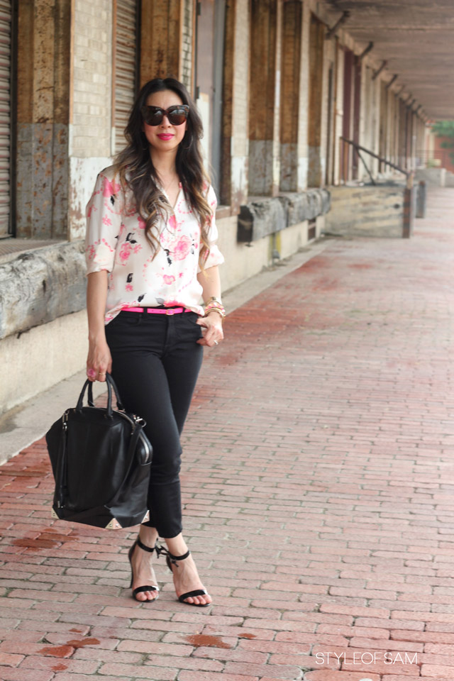 ESCADA by Margaretha Ley silk pink poodle blouse shirt, NYDJ alisha ankle jeans, jcrew neon pink belt, wish inspiration miriam merenfeld necklace, alexander wang emile tote, ann taylor patent bow greta sandals, oui etsy ring, pink agate stone brass ring, kelly wearstler perforated bangle, house of harlow chelsea tortoise sunglasses, tom ford aphrodisiac lipstick, style of sam