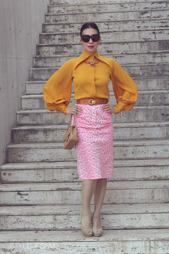 style of sam, mustard and pink, mustard balloon sleeve top, pink leopard moschino cheap and chic skirt, house of harlow chelsea tortoise sunglasses, ysl saint laurent palais heels, chanel mini caviar flap in tan, elizabeth cole kissing rams necklace, vintage hermes camel belt, tom ford aphrodisiac lipstick, oui etsy ring, opal ring