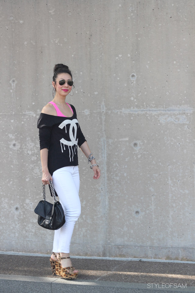 style of sam, chanel, chanel melting tee, double c melting tee, lululemon pink bra, joe's jeans, steve madden leopard wedges, chanel soft and chain bag, rayban aviators, tom ford aphrodisiac lipstick