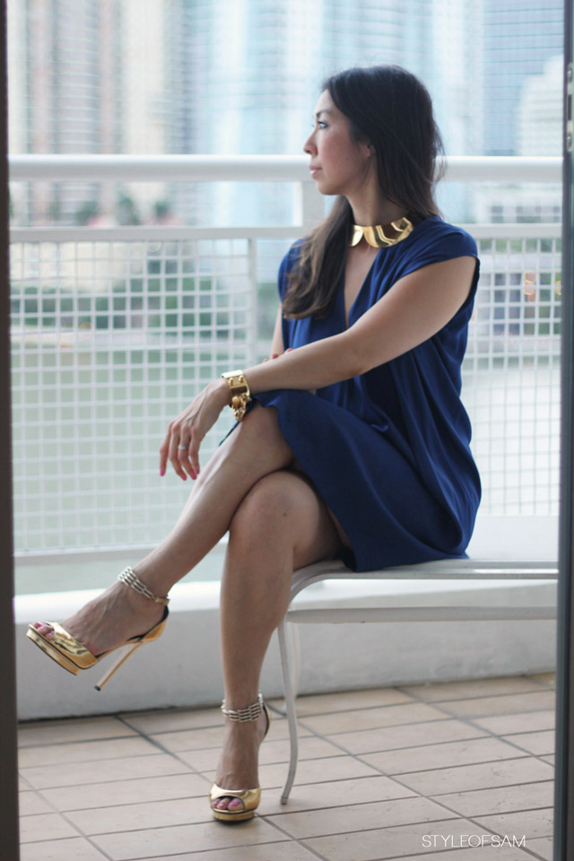 style of sam, louis vuitton collar necklace and chain cuff, vince split neck dress, brian atwood gold mirror heels