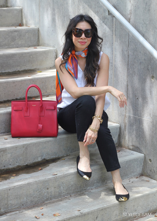 Style of Sam, Ann Taylor Skylar Flats, Saint Laurent Sac du Jour in Red, Hermes scarf, piazza sempione asymmetrical top, NYDJ Alisha jeans, mommy ootd, day look with flats