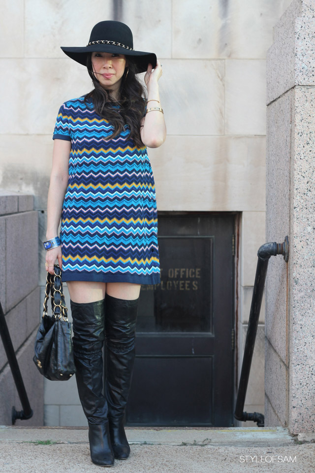 style of sam, marciano floppy hat, missoni for target chevron dress, chanel olson tote, coach over the knee boots, fall fashion, fashion blogger