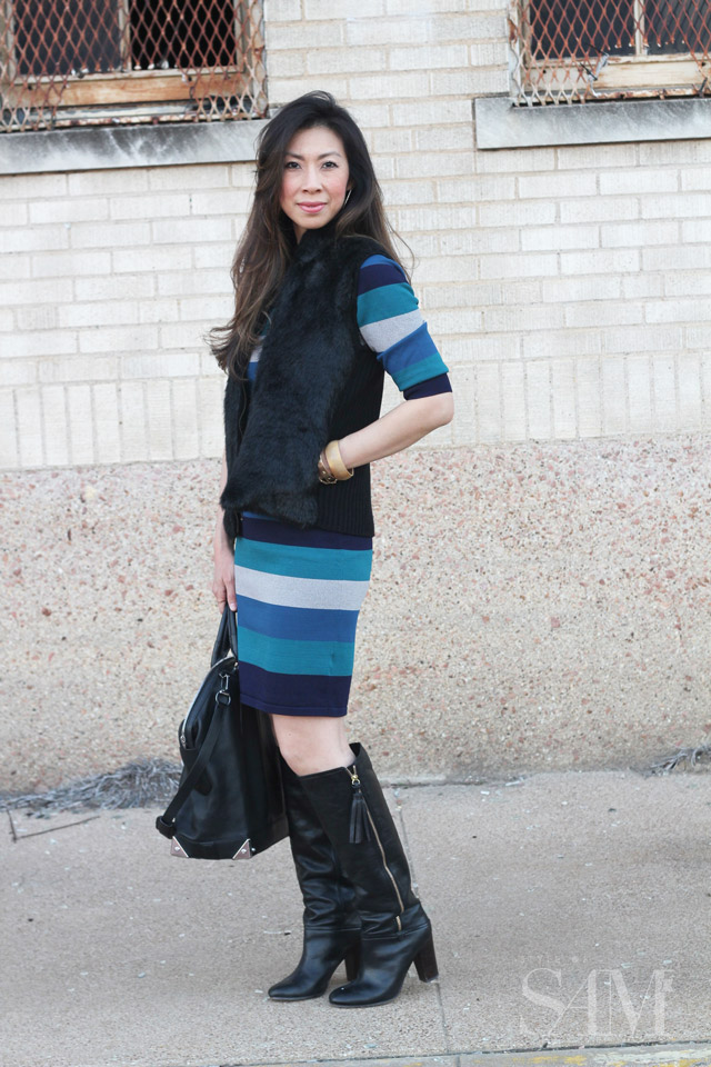 style of sam, jonathan simkhai striped body con dress, coach tassel boots, alexander wang emile tote, faux fur vest