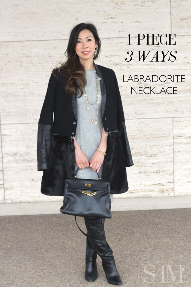 style of sam, ryan sadkin labradorite necklace, narcisco rodriguez wool silk dress, ashley b fur leather jacket, coach over the knee boots, hermes kelly, winter ootd, grey and black ootd