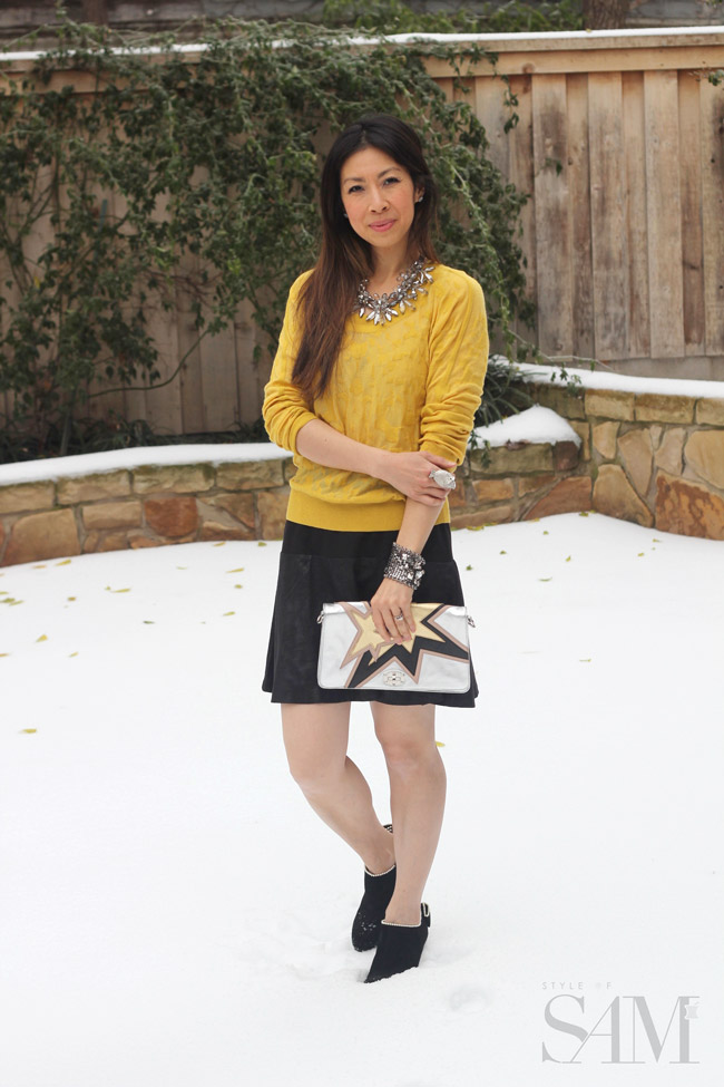 style of sam, CAbi ochre burnout sweater, owen skirt, prada star clutch, valentino pearl bow booties, holiday look, ootd