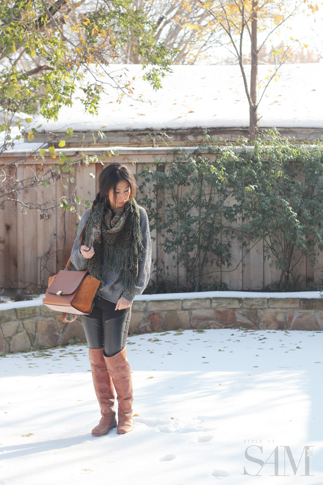 style of sam, celine trapeze, timberland over the knee boots, winter outfit, fashion blogger