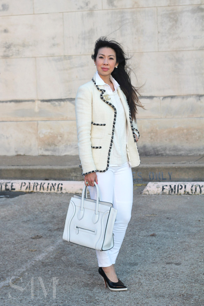 style of sam, chanel cream and black contrast trim blazer, jbrand moto skinnies, celine luggage bag, chanel logo brooch, winter white outfit
