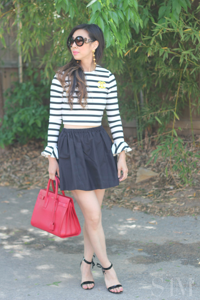 style of sam, zara striped crop top, black and white stripes