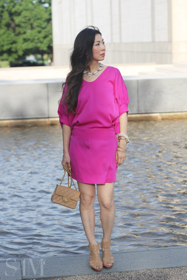 style of sam, dvf edna dolman sleeve pink dress, five piece french wardrobe