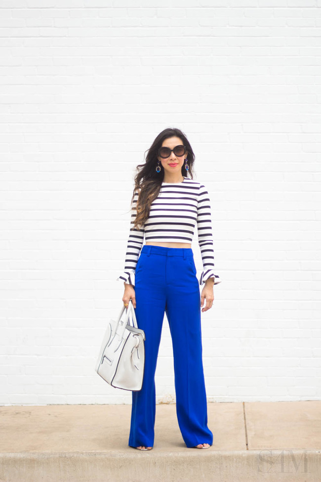 style of sam, how to wear a striped crop top, zara striped crop top, alice and olivia high waisted pant