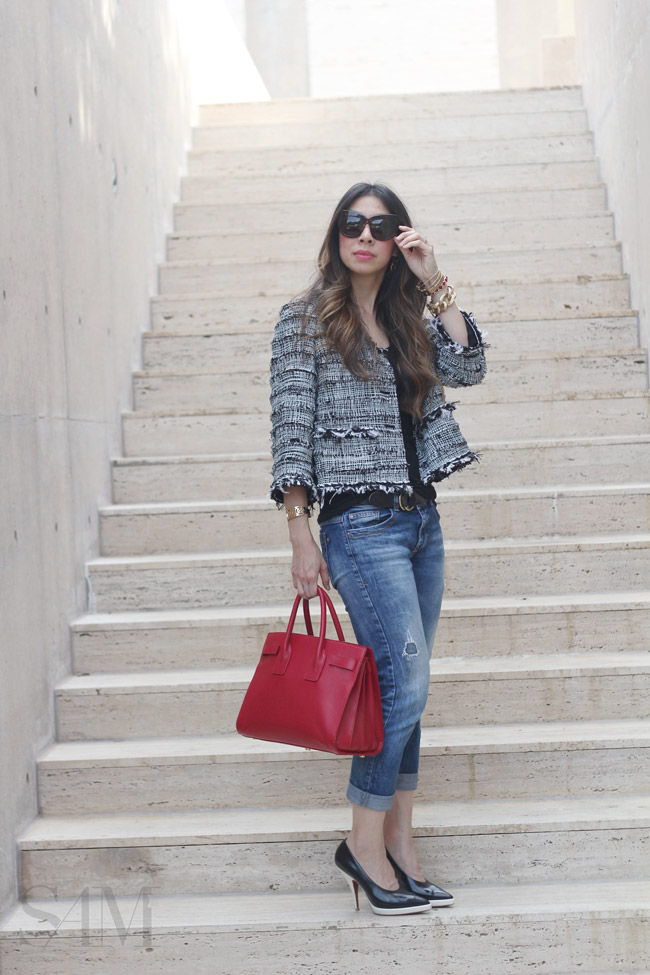 style of sam, how to wear a chanel jacket casually, boyfriend jeans, saint laurent sac du jour