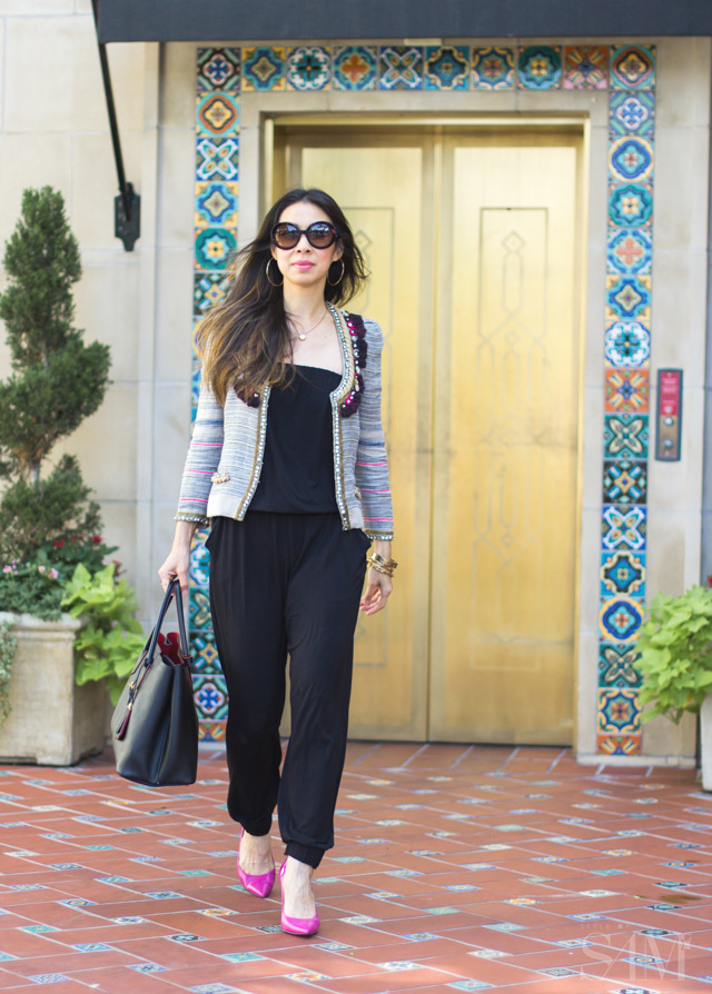 style of sam, isabel marant flana jacket, CAbi patio romper, how to wear a jumpsuit