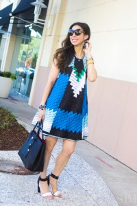 style of sam, missoni organza overlay dress in blue and green, how to wear blue and green
