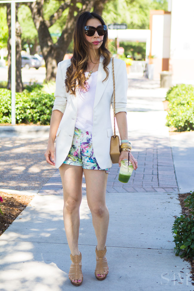 style of sam, sarah briggs out of africa necklace, zara floral shorts, how to wear shorts with a blazer