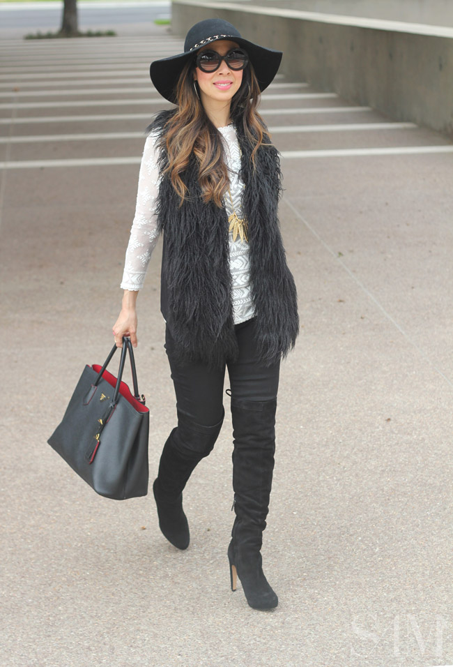 style of sam, CAbi infinite fur vest, how to wear a fur vest, fall ootd, how to wear OTK boots
