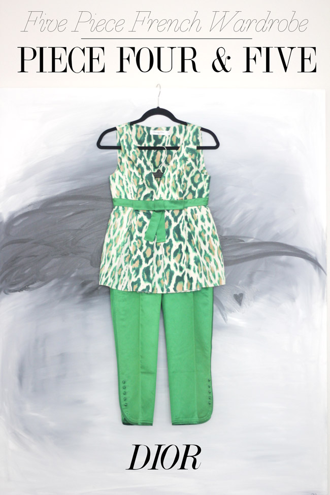 style of sam, five piece french wardrobe, christian dior green leopard outfit