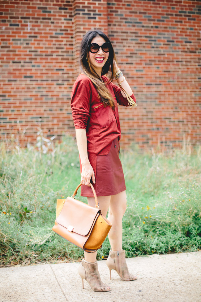 style of sam, french connection luxe leather mini skirt, lna hamptom tunic, sam edelman aubriana, celine trazeze bag, how to wear burgundy for fall, how to wear a leather skirt