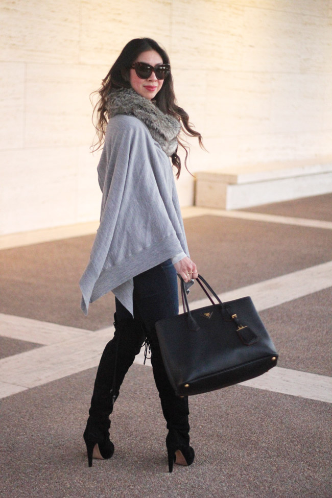 style of sam, how to wear a poncho or cape, faux fur scarf