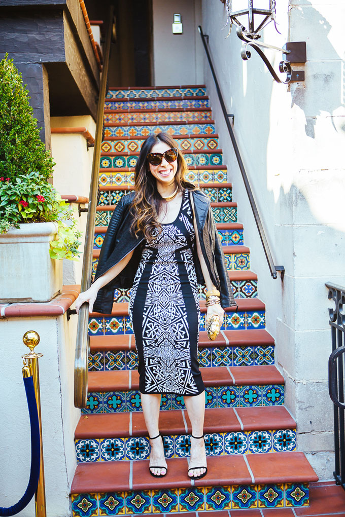 style of sam, nicole miller maze dress, nicole by nicole miller moto jacket, how to wear a midi dress in your 30s, date night look