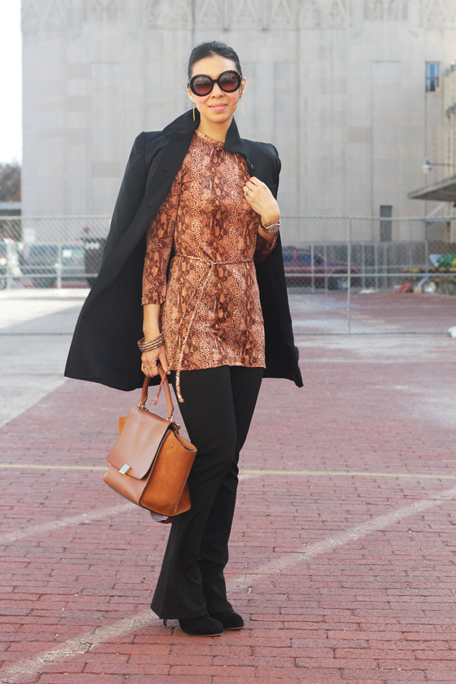 style of sam, from grandma with love, roll neck snakeskin top 60s, how to wear vintage