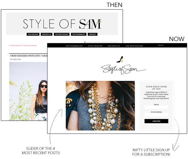style of sam, new blog design