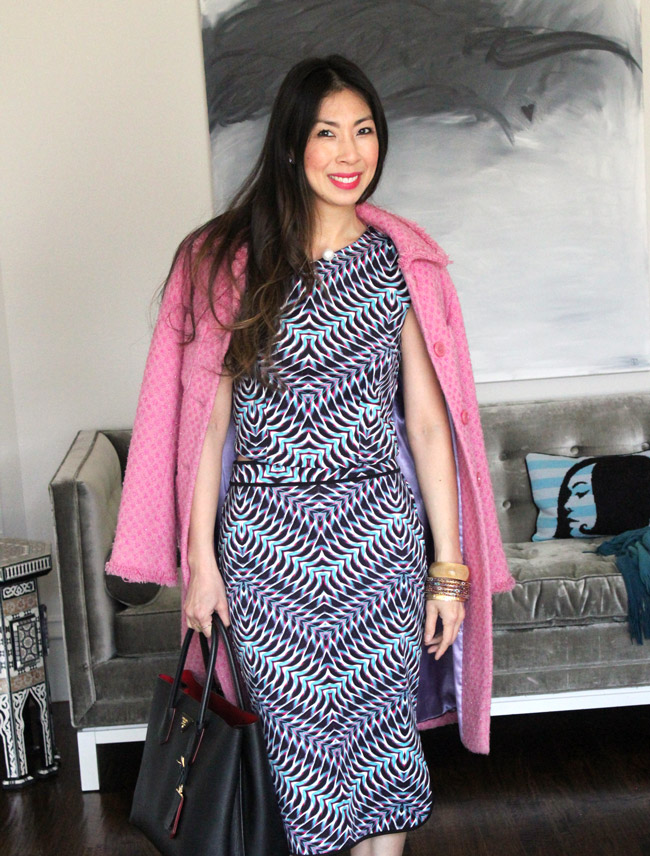 style of sam, how to wear a pink coat, bisou bisou chevron scuba set, pearl choker