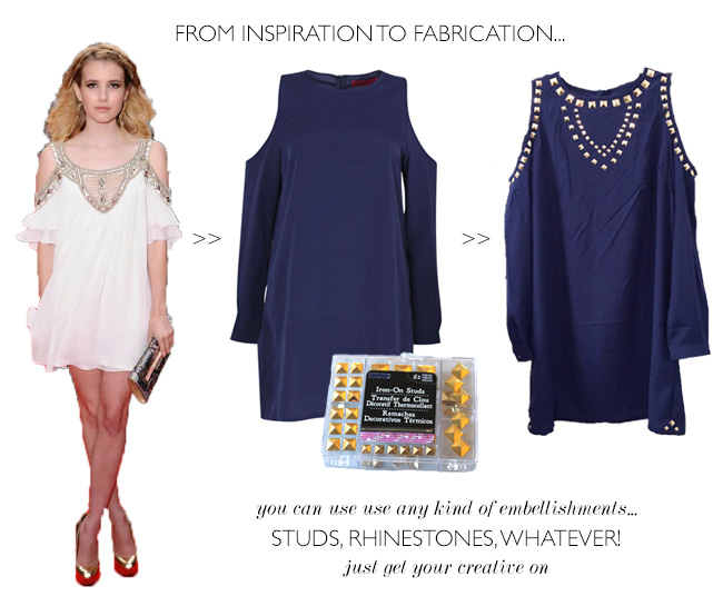 style of sam, DIY studded dress, boohoo dress DIY