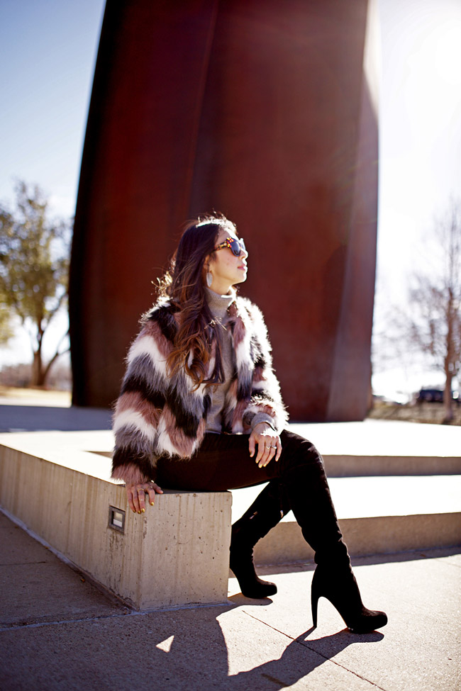 style of sam, chevron fur jacket, five piece french wardrobe, how to wear a turtleneck