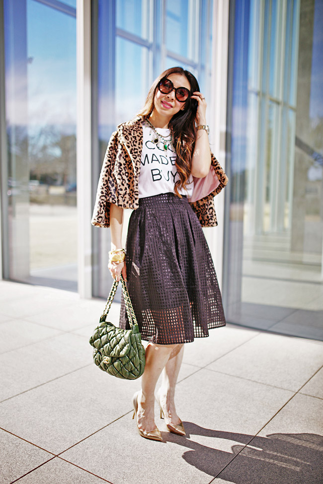 style of sam, how to wear a graphic tee and skirt, date night outfit, cabi lola leopard shrug