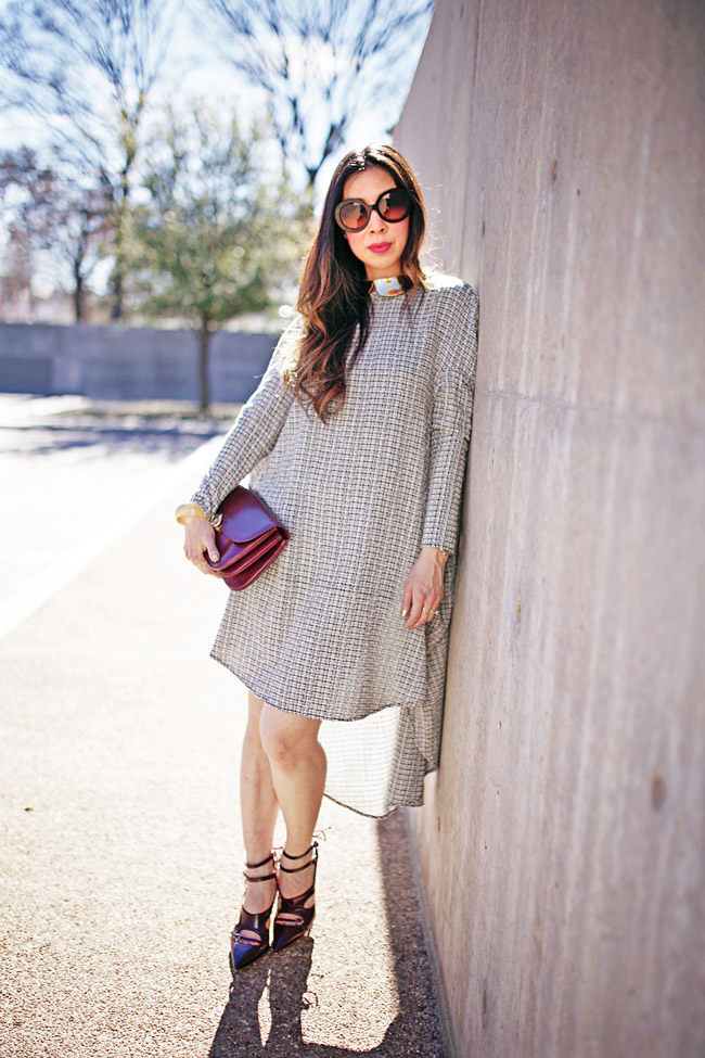 style of sam, marsala maroon tabitha simmon closed toe heels, nini circle dress tweed, how to wear marsala and tweed