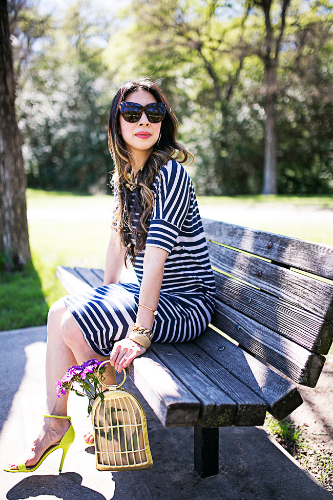 style of sam, how to wear a nautical striped dress for spring, CAbi Perfect T Dress and coco button necklace from In the Sun Collection 2015