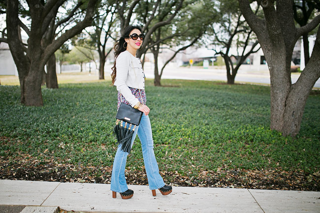 style of sam, CAbi zipline blazer, flare jeans, how to wear a skirt as a top