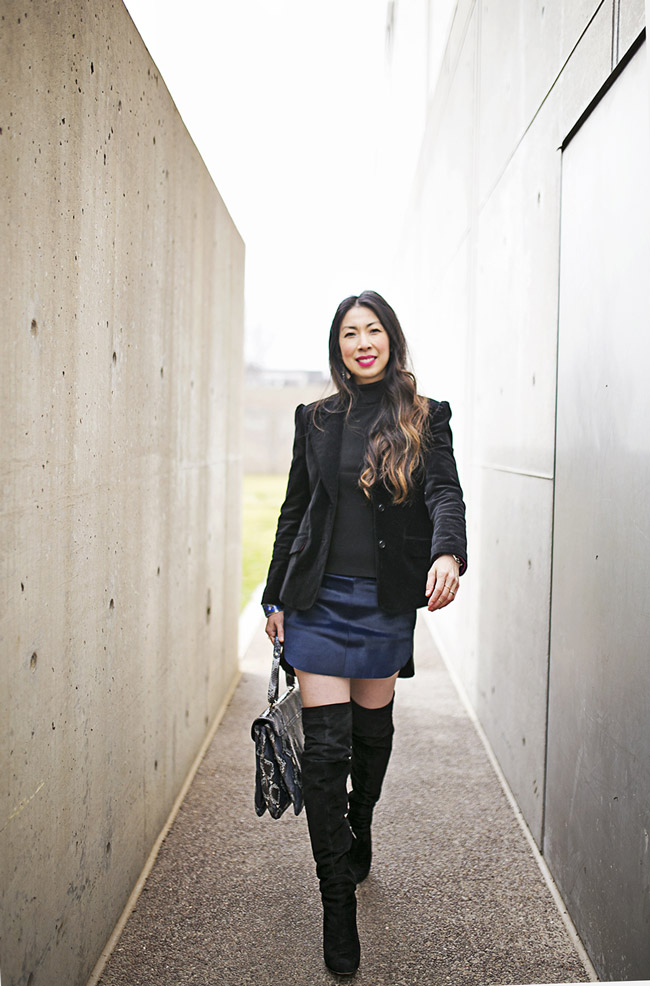 style of sam, mason by michelle mason calf hair mini skirt, how to wear otk boots with a mini skirt, how to wear black and blue