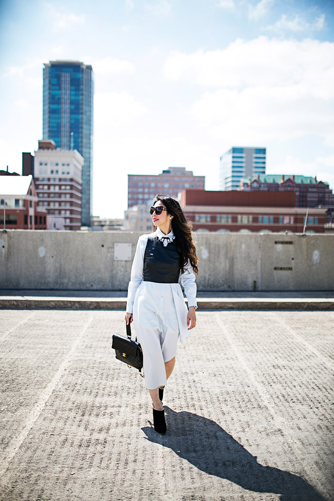 style of sam, theory diaz shirt dress, how to wear a crop top over a dress, crop top for spring, best transitional weather piece