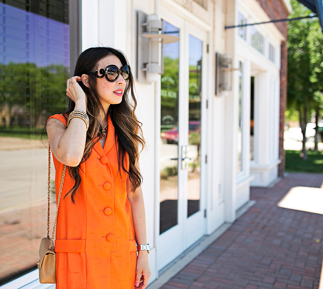 style of sam, how to wear a vintage orange dress