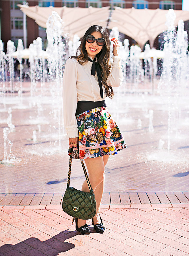 style of sam, ted baker london floral flare skirt, dolce and gabbana bow front blouse, feminine and flirty ootd, how to wear a floral skirt