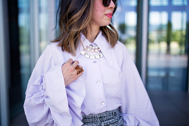 FromGmawithLove-style of sam, bishop sleeve top, lob haircut with ombre highlights, kate spade shaken and stirred necklace