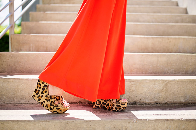 orange jumpsuit, steve madden calf hair leopard wedges