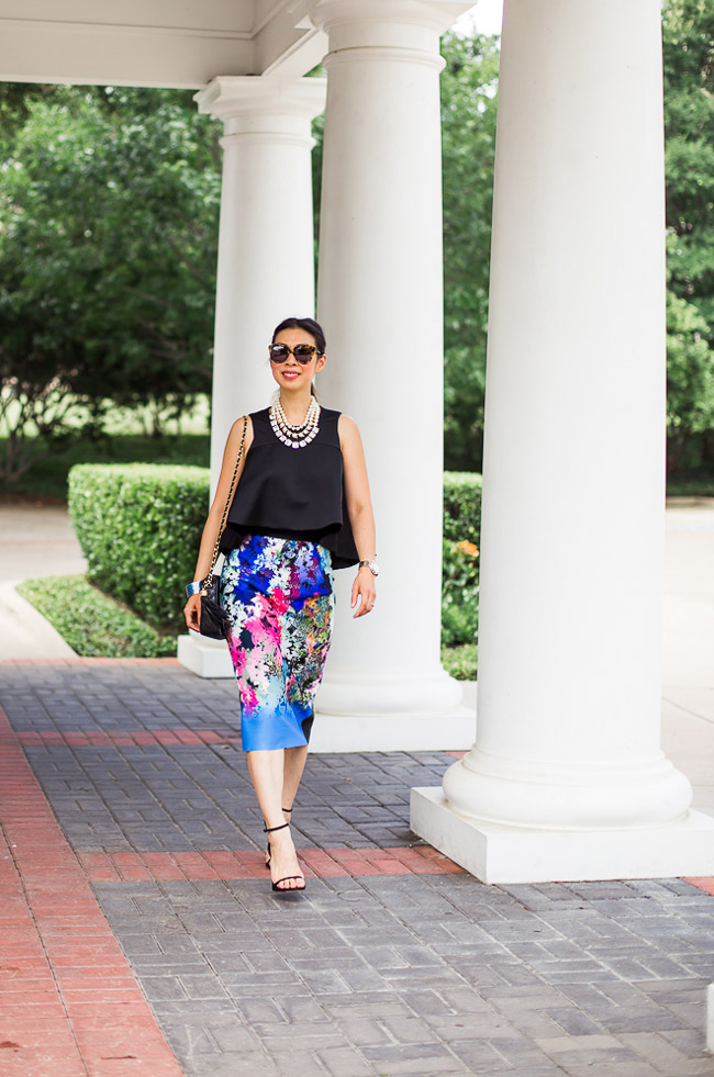 milly ombre floral skirt, cameo new love top, kate spade SHAKEN AND STIRRED TRIPLE STRAND NECKLACE, stuart weitman nudist heel, chanel camera bag, what to wear to a wedding
