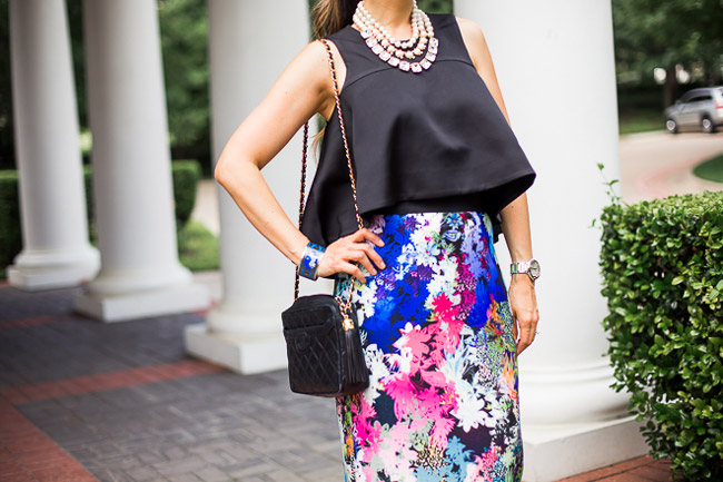 milly ombre floral skirt, cameo new love top, kate spade SHAKEN AND STIRRED TRIPLE STRAND NECKLACE, stuart weitman nudist heel, chanel camera bag, what to wear to a wedding, chic at every age