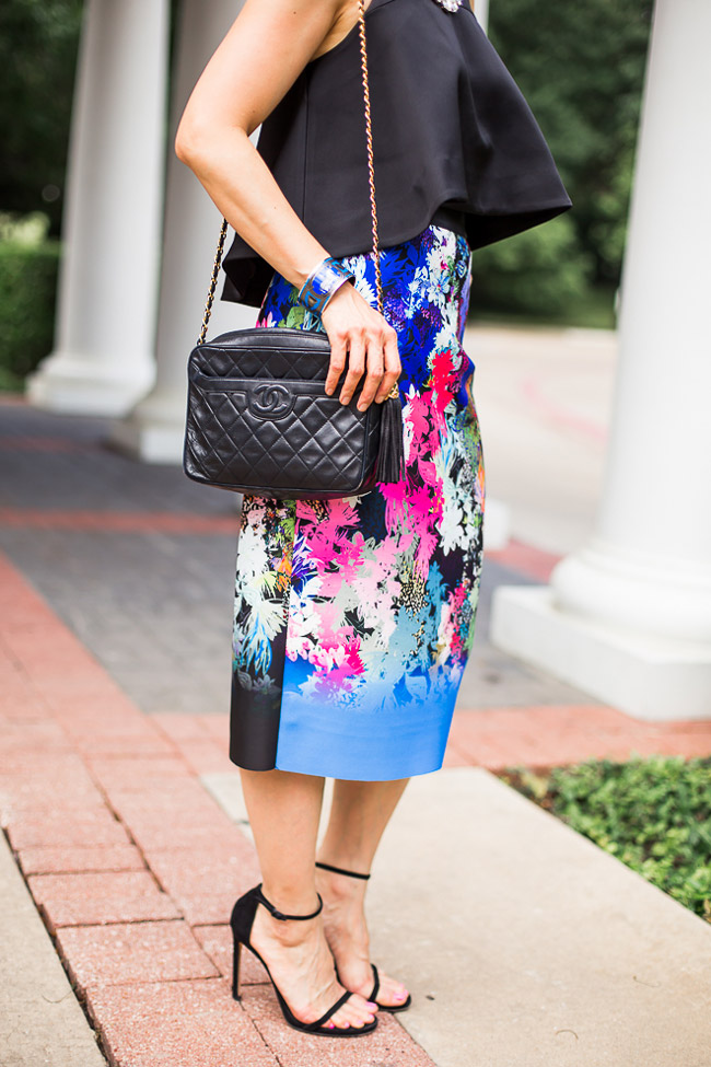 milly ombre floral skirt, cameo new love top, stuart weitman nudist heel, chanel camera bag, what to wear to a wedding