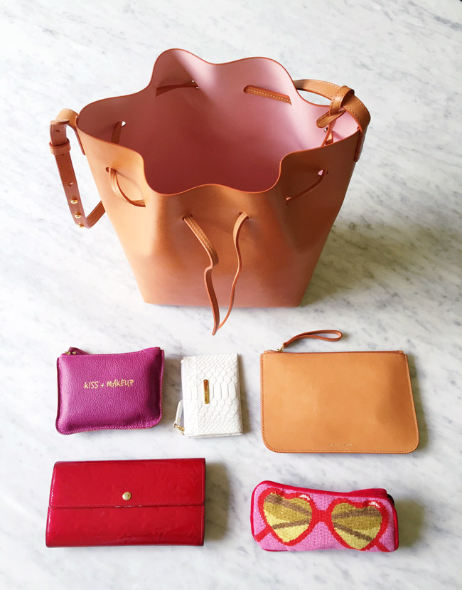 mansur gavriel bucket bag cammello rosa, review, gigi new york mini zip card case, jonathan adler heart sunglasses case, louis vuitton vernis long wallet