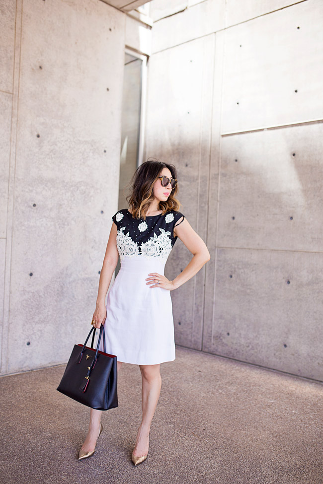 from grandma with love, black and white applique dress, gold valentino pumps, prada double bag, lob haircut with ombre hightlights, ladylike outfit