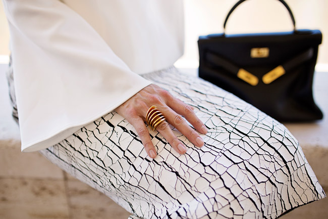 balenciaga cracked skirt, keepsake little faith top, hermes kelly bag, style of sam, vita fede futuro ring